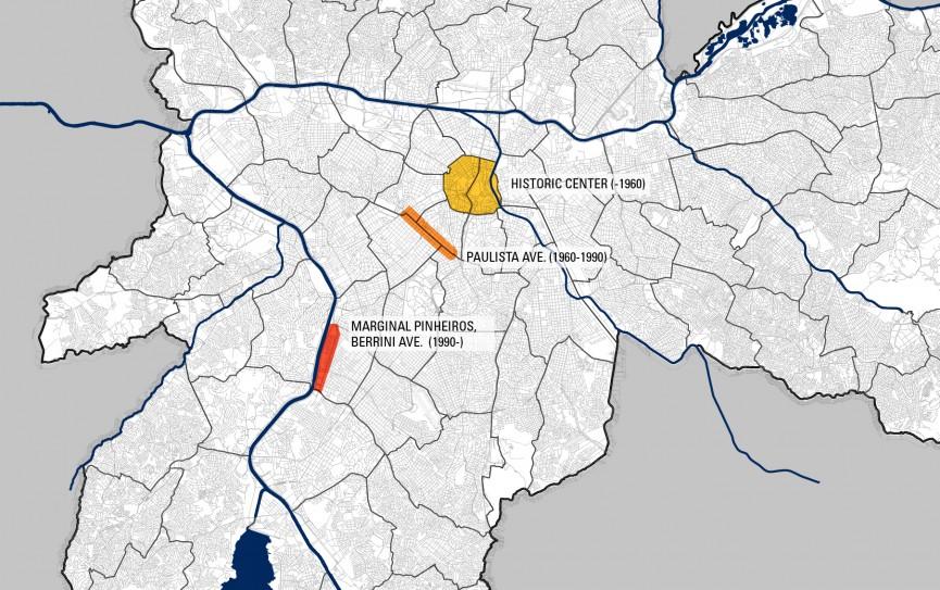 Mapa das centralidades de São Paulo. Fonte: H. Frugoli Jr., EdUSP, 2006