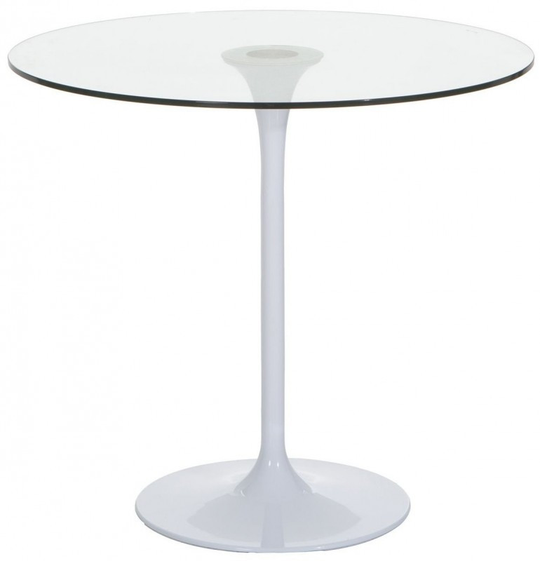 table ronde tulipe verre trempe transparent et metal blanc fang 80