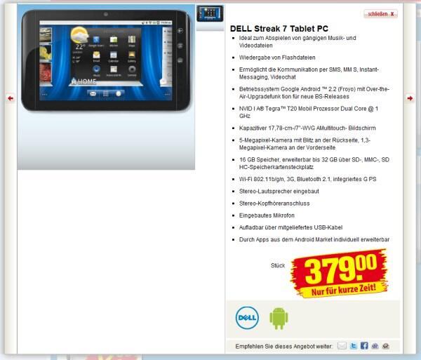 Android Tablet Dell Streak 7 Bei Penny 30 Euro Rabatt Online