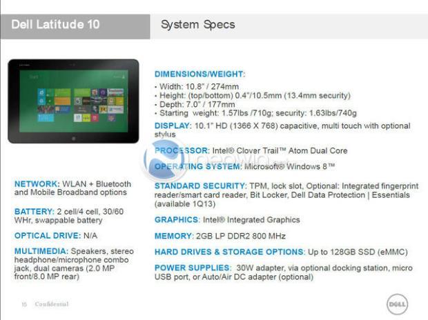 Dell Tablet Spec Sheet