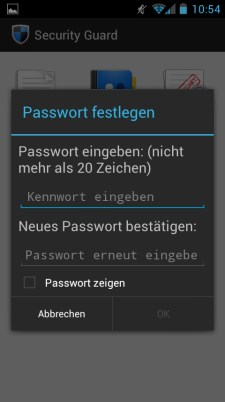 Huawei Honor 8860 Security Guard Passwort