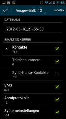 Huawei Honor 8860 Sicherung Auswahl