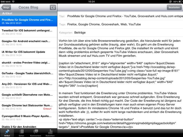 WordPress für das iPad