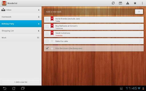 Wunderlist für Android-Tablets