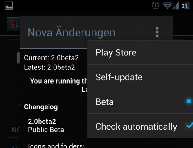 Nova Update Einstellungen