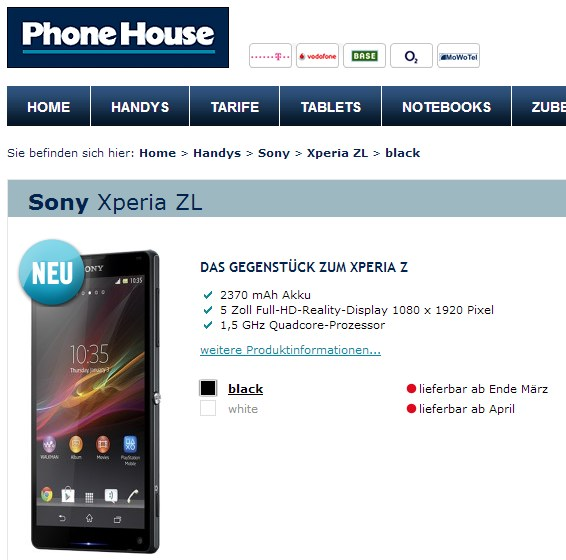 xperia zl phonehouse
