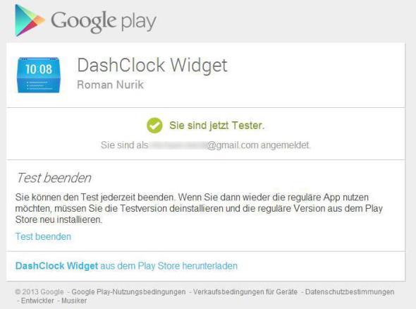 Google Play Beta Programm Dashclock Widget