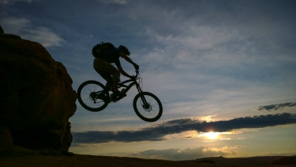 Alex Borichevsky rides Moab's slickrock bicycle trail.
