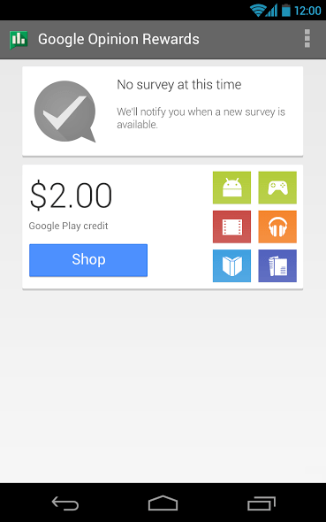 Google Opinion Rewards Screen