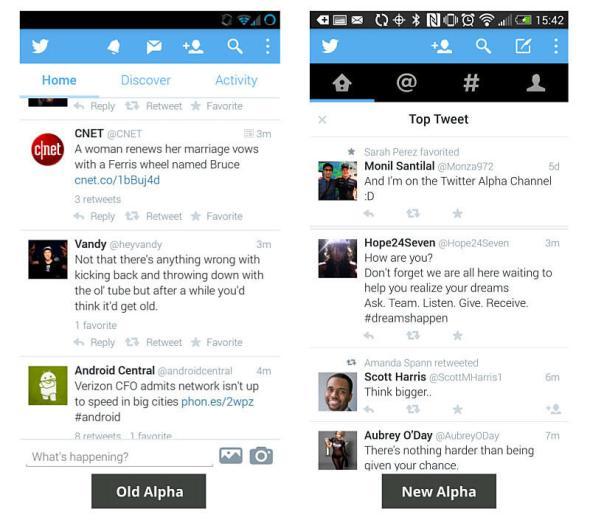 Twitter Alpha alt vs neu