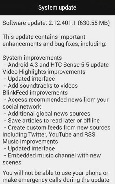 HTC One Mini Update