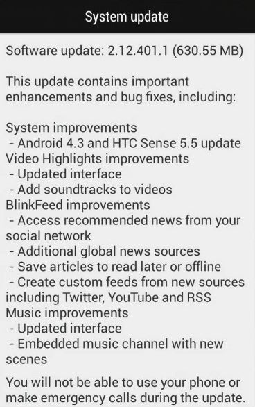 HTC One Mini Update