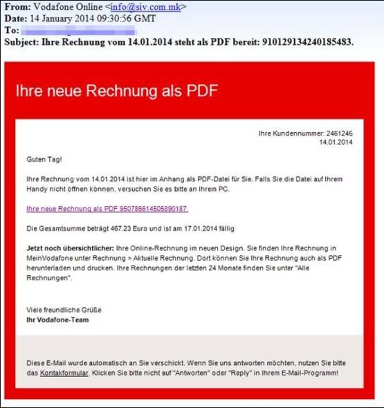 Phishing-Mails mit Vodafone-Rechnung