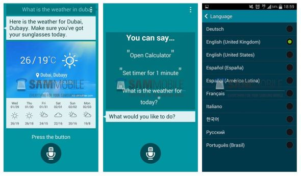 Samsung S Voice Screens