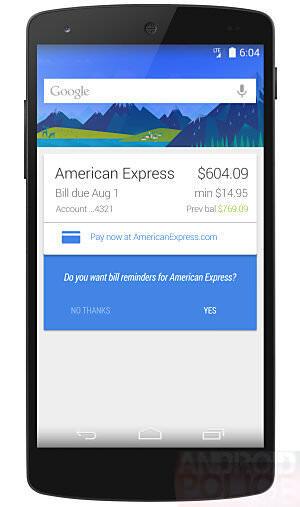 Google Now Rechnungen Mockup