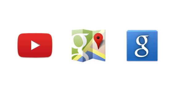Google YouTube Maps Suche Icon Header
