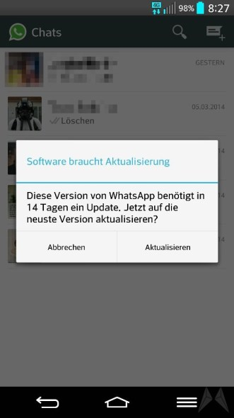 whatsapp update 14 tage android