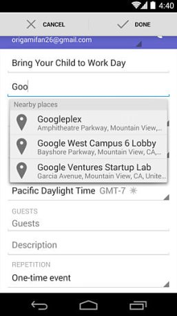 Google Calendar Maps-Autocomplete