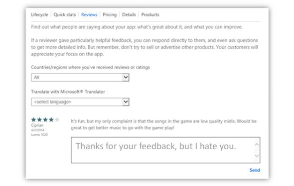Windows Phone Store Entwickler-Feedback