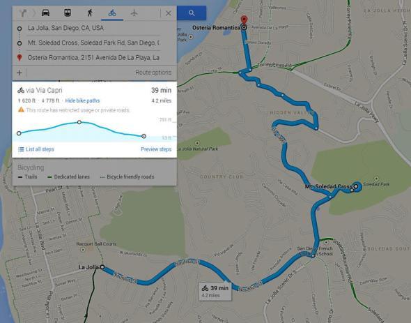Google Maps Fahrrad-Routen