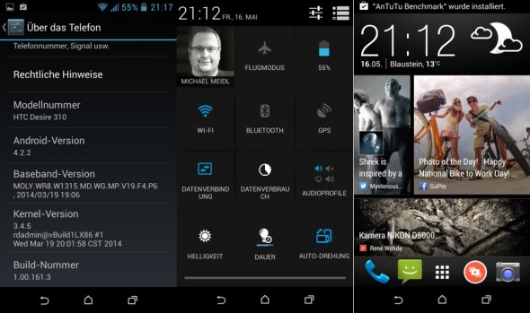 HTC Desire 310 BlinkFeed Settings QuickToggle