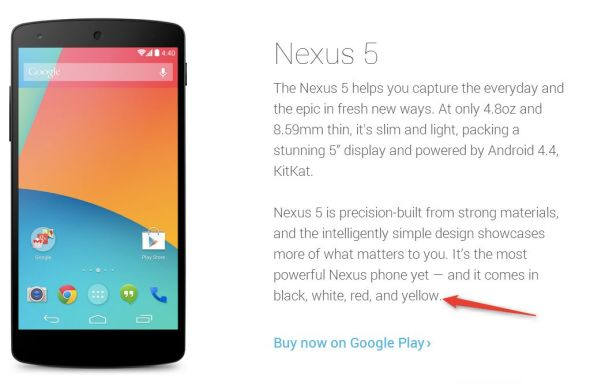 Nexus 5 Gelb Play Store