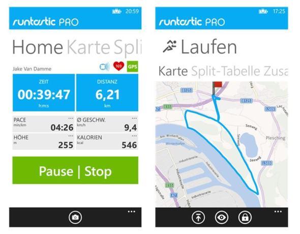 Runtastic Pro Windows Phone Screens