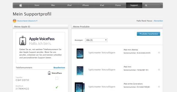 apple support profil