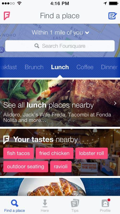 Foursquare Neu Homescreen