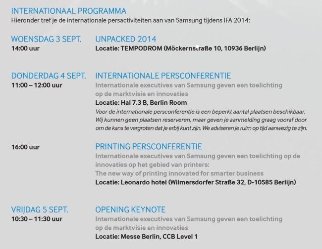 Samsung Programm IFA 2014