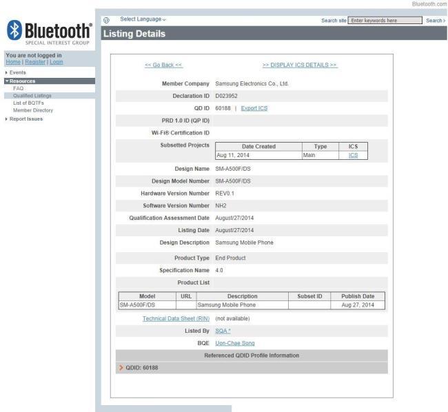 sm a500 bluetooth zertifizierung