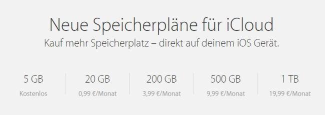 iCloud Preise