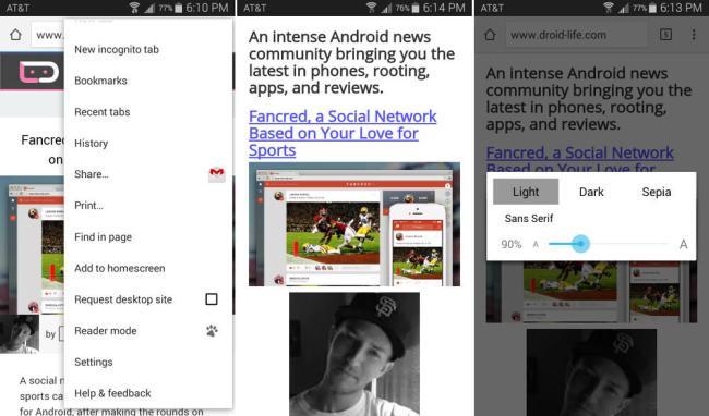 Android Chrome Beta Reader Modus Screens