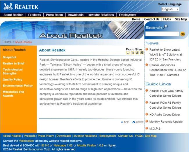 Funktional, aber kein allzu schöner Anblick: Die Reaktek-Website - best viewed at 800x600 in Netscape