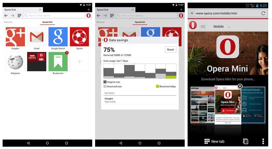 Opera Mini Beta Screens