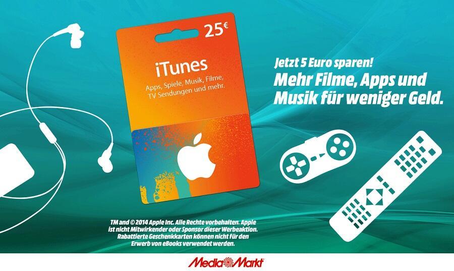 iTunes-Guthaben: 20 Prozent Rabatt bei Media Markt und PayPal
