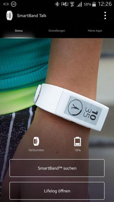 sony smartband app home