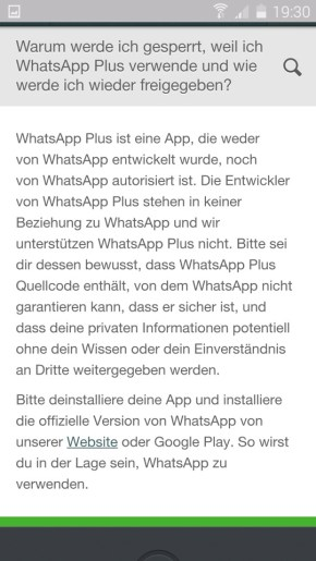 whatsapp sperrung plus