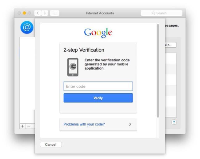 OS X Yosemite Google Zwei Faktor Authentifizierung
