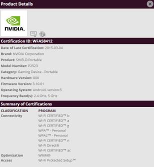 Nvidia SHIELD Portable 2 WiFi Zertifizierung