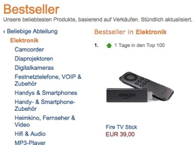 fire tv stick bestseller