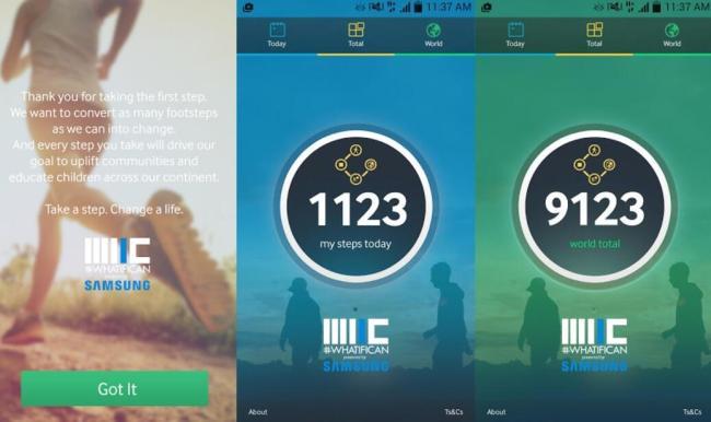 Samsung Pedometer Afrika Screens