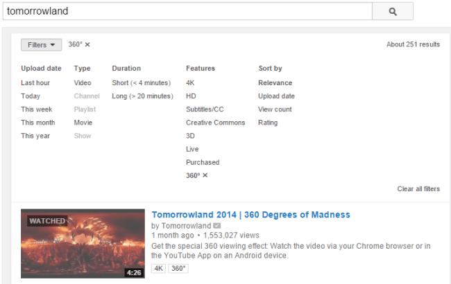 YouTube 360 Grad Filter