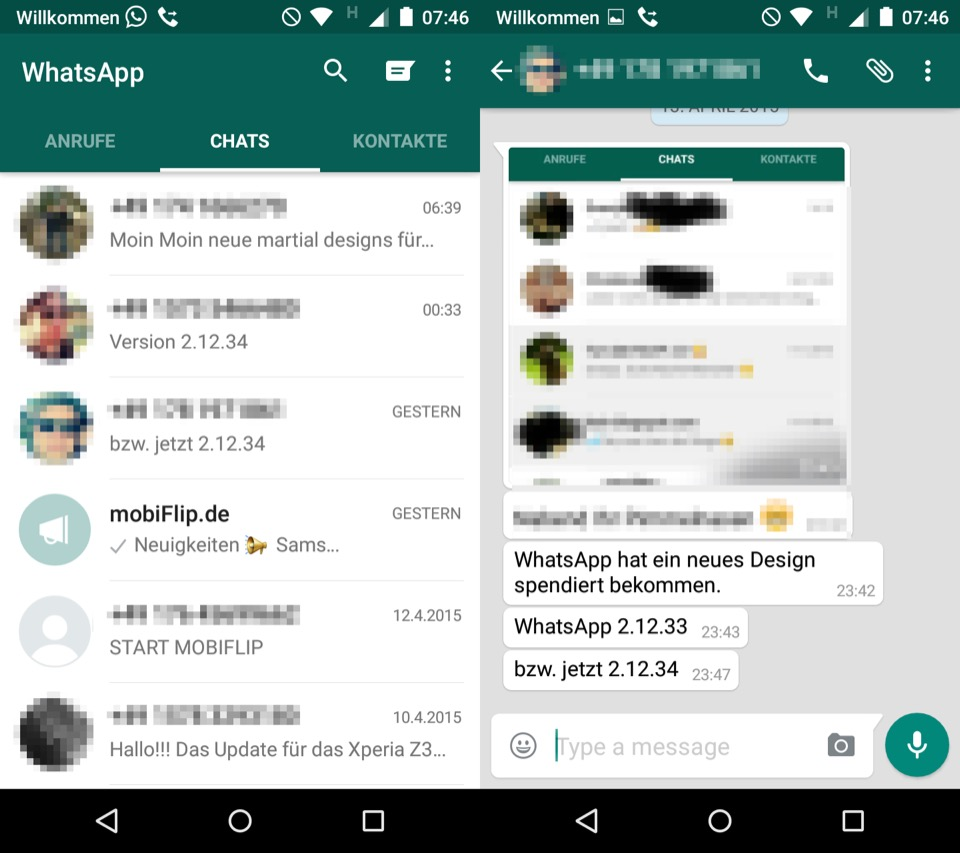 material design whatsapp android