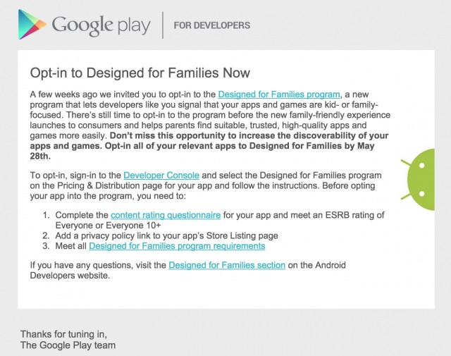 Google Play Store Designed for Families
