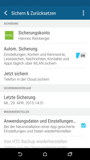 HTC One M9 Sichern und Zurücksetzen