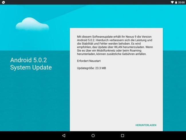 nexus 9 5.0.2 android update