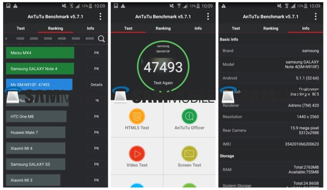 Note 4 Android 5.1 benchmark AnTuTu