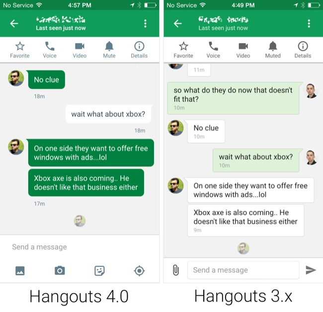 hangouts matrerial 4.0 update ios