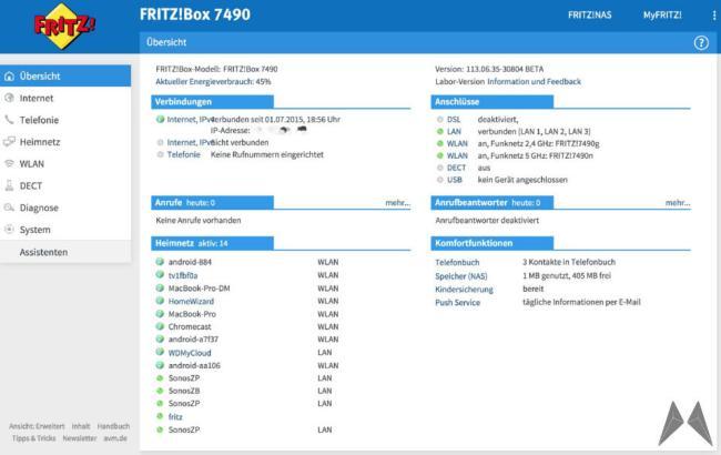 FRITZ!Box 7490 Labor Oberfläche
